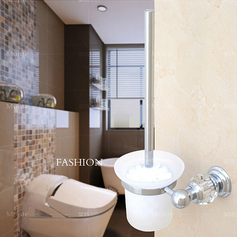 Bathroom Accessories Brass & Crystal Chrome Toilet Brush Holder, Bathroom Products luxury gold crystal brass toilet paper holder polished european tissue box roll holder bathroom accessories products