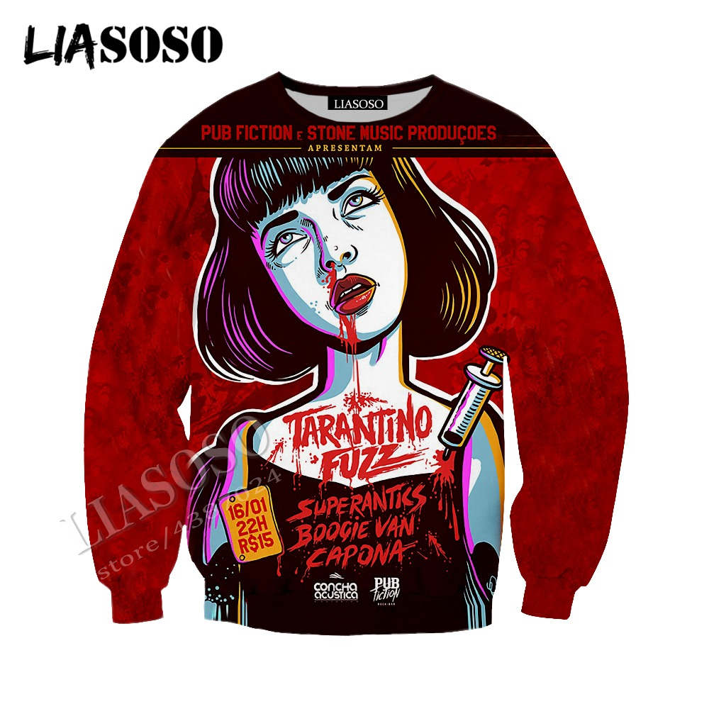 LIASOSO latest 3D printed comfortable polyester sportswear hot movie Quentin Pulp Fiction sexy Mia man woman zipper hoodie CX742