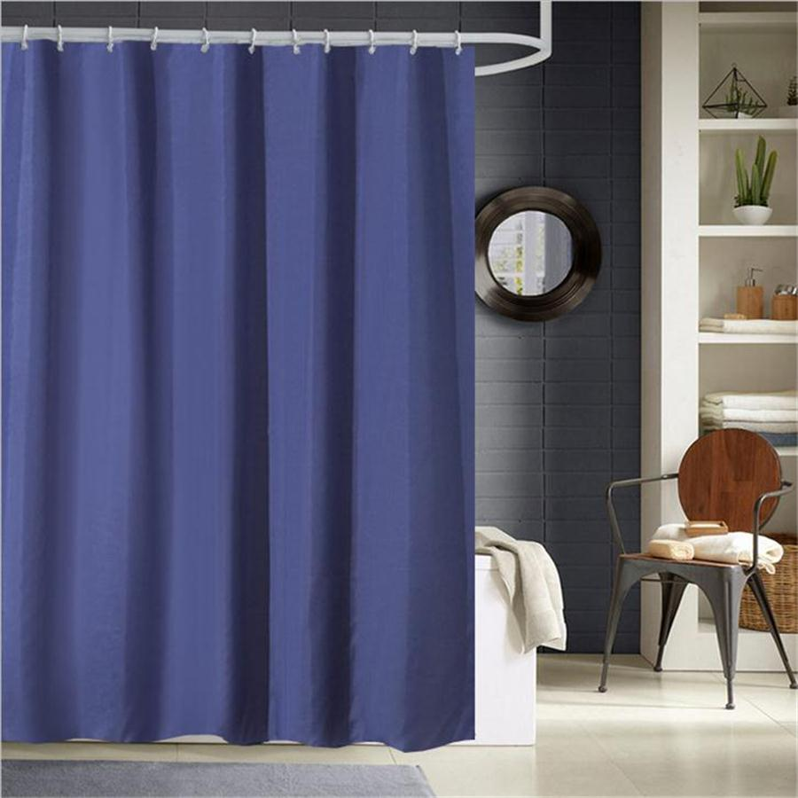 Dafield Polyester Fabric Cloth Solid Color Black White Gray Navy Red Blue Cheap Bathroom Mildew Resistant Shower Curtain <font><b>180*200</b></font> image