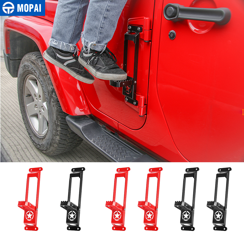 MOPAI Car Door Hinges Foot Rest Pedal Plate Foot Pegs For Jeep Wrangler JK JL 2007-2018 Car Accessories Styling