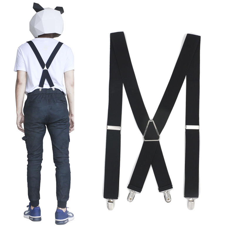 3.5 Width Fashion Men Suspenders Solid Black Double Elastic 4 Clips Adjustable Two-way Metal Cross X Back Women Pants Braces
