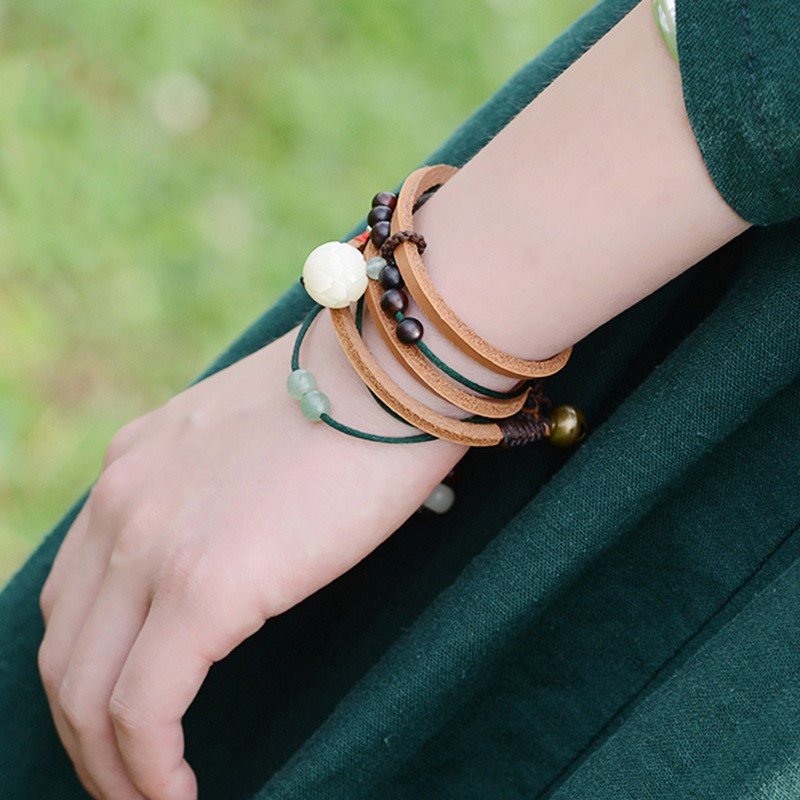 Toplay Cow Leather Bracelet Natural Stone Beads Carved Bodhi Lotus Multilayer Long Bracelet Jewelry