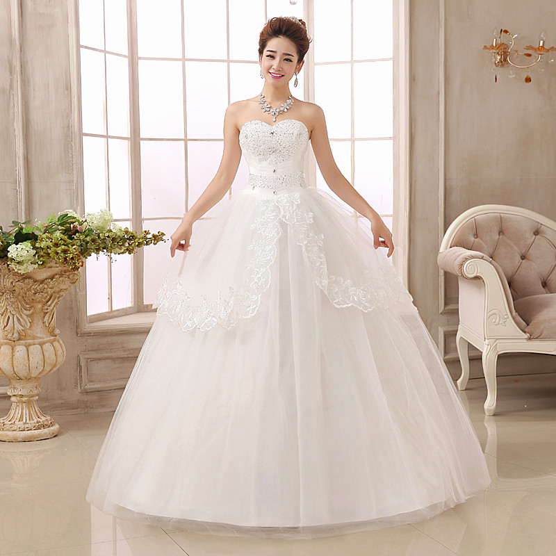 Cheap Lace Wedding Dress Sweetheart Bridal Ball Gown Plus