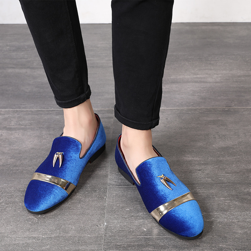 1 Big size 37-48 Personality Metal Pendant Decorated Slip On Fashion Men   leather   Shoes Men Party Driving Shoes