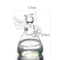 Hot Cute Clear Glass Angel Shape Flower Plant Stand Hanging Vase Hydroponic Home Office Wedding Decor 3
