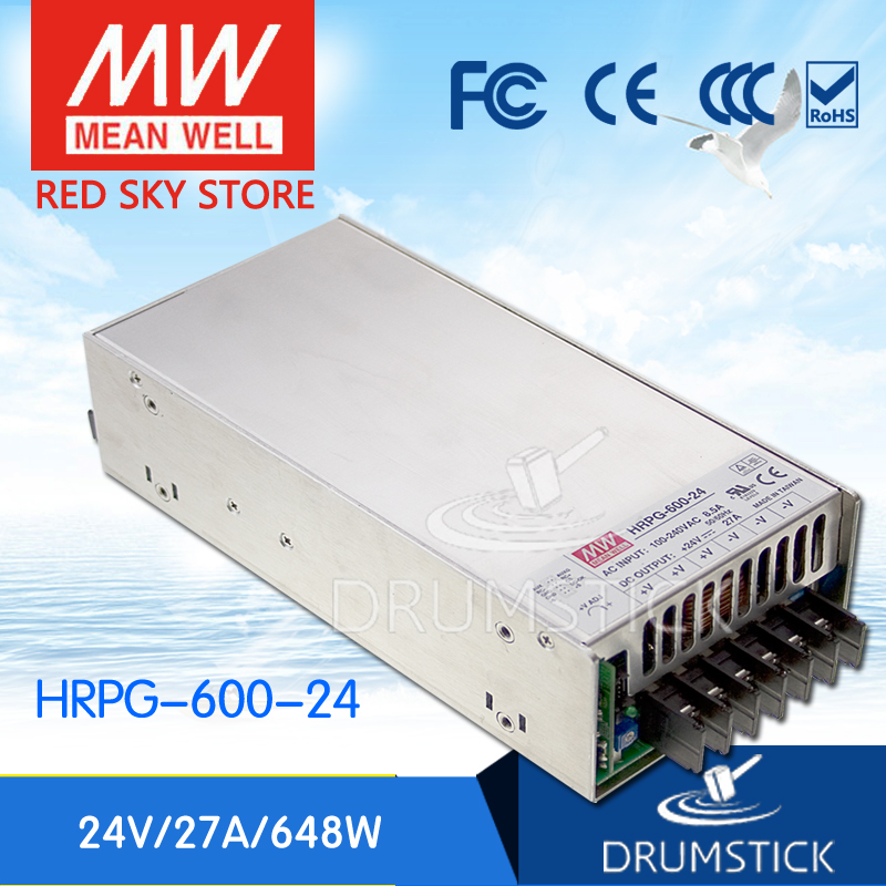 Hot sale MEAN WELL HRPG-600-24 24V 27A meanwell HRPG-600 24V 648W Single Output with PFC Function Power Supply advantages mean well hrpg 200 24 24v 8 4a meanwell hrpg 200 24v 201 6w single output with pfc function power supply [real1]