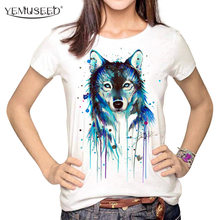 Dark Wolf Crew Neck T shirt Women Multi Harajuku Printed Tumblr Tee shirt Tops Blusa WMT259(China)