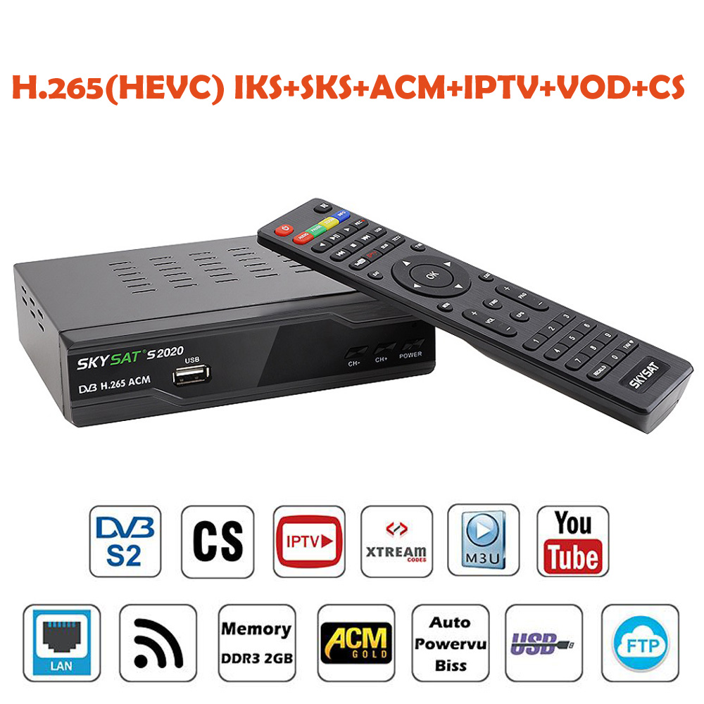 Skysat S2020 Dual Twin Tuner Dish Satellite Receiver H.265 AVC Digital Tv Box ACM IKS SKS Cam ACM/VCM/CCM IPTV VOD LAN WifiSkysat S2020 Dual Twin Tuner Dish Satellite Receiver H.265 AVC Digital Tv Box ACM IKS SKS Cam ACM/VCM/CCM IPTV VOD LAN Wifi