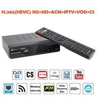 Skysat S2020 Dual Twin Tuner Dish Satellite Receiver H.265 AVC Digital Tv Box ACM IKS SKS Cam ACM/VCM/CCM IPTV VOD LAN Wifi