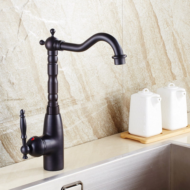 Oil Rubbed Bronze Kitchen Faucet 360 Swivel Bathroom Basin Sink Mixer Tap Single Handle Hole Hot and Cold Water Mixer Taps KD859 in Kitchen Faucets from Home Improvement