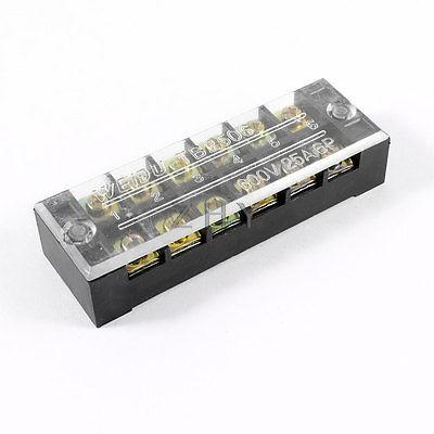 AC 600V 25A Dual Rows 6P 6 Positions Covered Barrier Screw Terminal Block