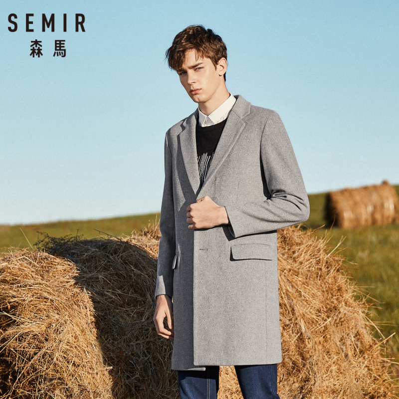 Semir men felted lã-mistura casaco caiu ombro casaco masculino com bolso no peito aberto 100% poliéster sedoso forrado para o inverno
