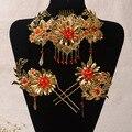El tocado de la novia traje espectáculo vestido de estilo Chino trajes Wo Bu Yao pelo accesorios horquilla casado Largo Fenggua