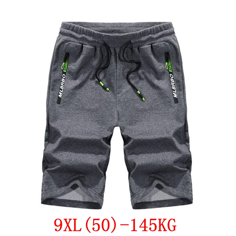 Men's big   shorts   large size 7XL 8XL 9XL summer cotton large stretch casual outdoor sports loose beach 48 50 black gray   shorts
