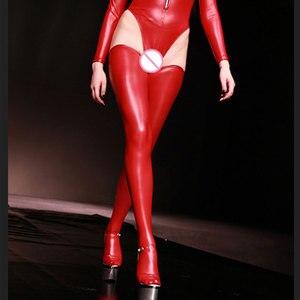 Image 4 - Seksowne kobiety Plus rozmiar lateksowe błyszczące wysokie pończochy Faux skórzane pończochy Moto Biker Club Stage Wear czarny czerwony niebieski F30