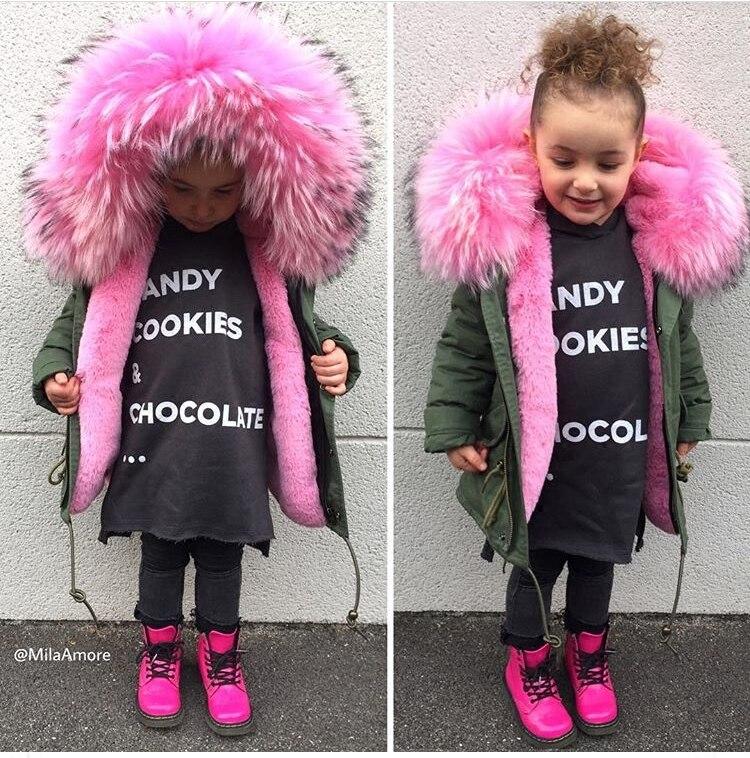 2019 hiver garçons filles Donw vestes enfant en bas âge Super grande fourrure Parkas Zipper enfants rose pardessus rempli plume Fuax fourrure vêtements