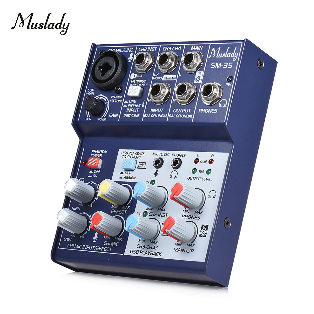 Muslady SM-35  4-Channel Sound Card Compact SizeMixing Console Digital Audio Mixer Supports 5V Power Bank USB Power Supply