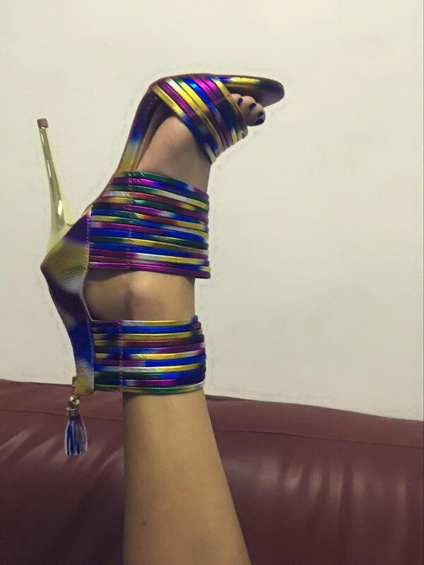 Unique Femmes en À Zip Fringe Arc Chic Robe cuir Stiletto Retour Bout Bande Chaussures Coloré Sandales Talons Haut Ouvert laissez A0ZzAr