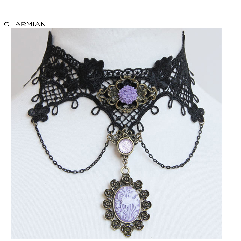 Charmian Elegant Lolita Black Rose Lace Cameo Choker Necklace Accessories