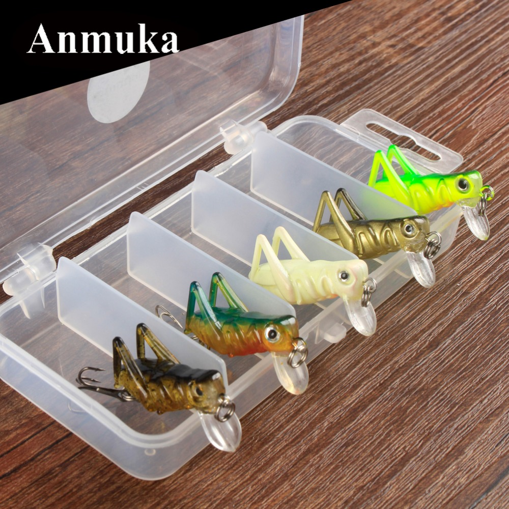 Anmuka 5Pcs Fishing Lure Kit Cricket 3g Minnow/Popper Lures Isca Crankbait Baits Pesca Head Fishing Hook Set In Fishing Case 3pcs lot fishing lures mixed set minnow crankbaits topwater popper hook lure spinner baits crankbait bass wobbler tackle hook