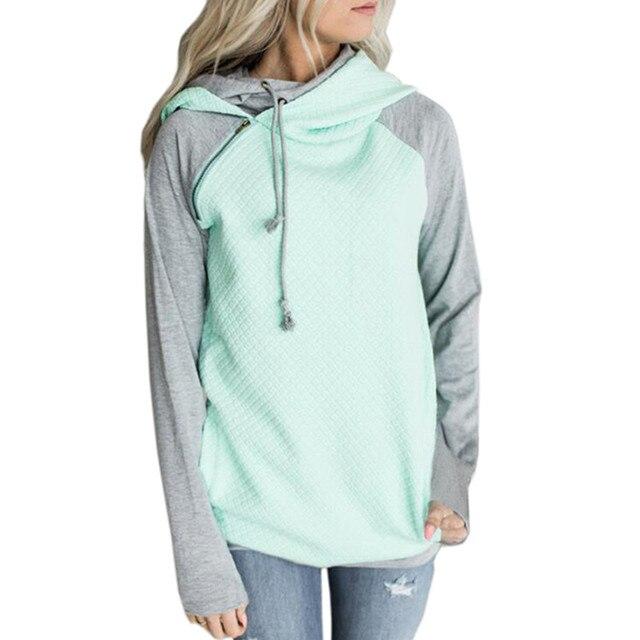 2985e2d98cf Autumn Women Hoodie Sweatshirts Zipper Patchwork Pullover Hoodies Casual  Long Sleeve Double Hooded Sweatshirt Sudadera Mujer XXL-in Hoodies    Sweatshirts ...