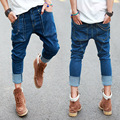 Summer New Mens Hip Hop Jeans Vintage Washed Pockets Drop Crotch Roll Up Harem Jeans Pencil Pants For Man