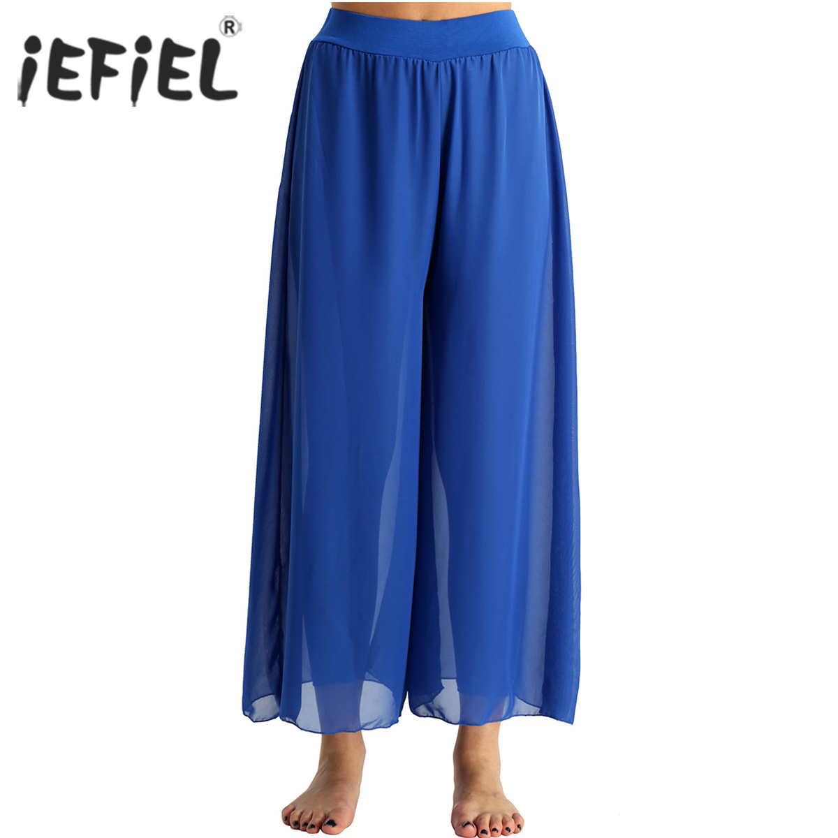 Womens Dancewear Flowy Chiffon High-waisted Belly Dance Loose Wide-leg Pants Adult Female Costume Dance Dress Stage Performance