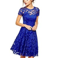 Women Floral Lace Dresses Short Sleeve Party Casual Solid Color Blue Red Black Mini Dress