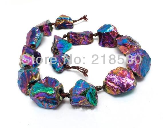 84.20 Cts. Natural Titanium Crystal Quartz Gems Pendants Beads Multicolor 40x7x5-45x7x5 mm Lot of 6 pcs