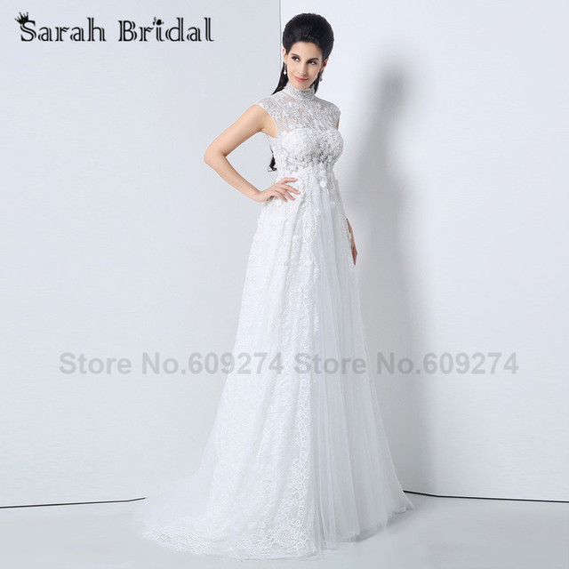 Romantic White Lace Long Empire wedding Dresses 2015 high Neck ...