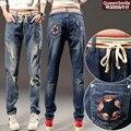 Сломанные отверстия в джинсах и жира, чтобы увеличить размер код ММ брюки свободные повседневные случайные свободные талии Харен брюки вниз