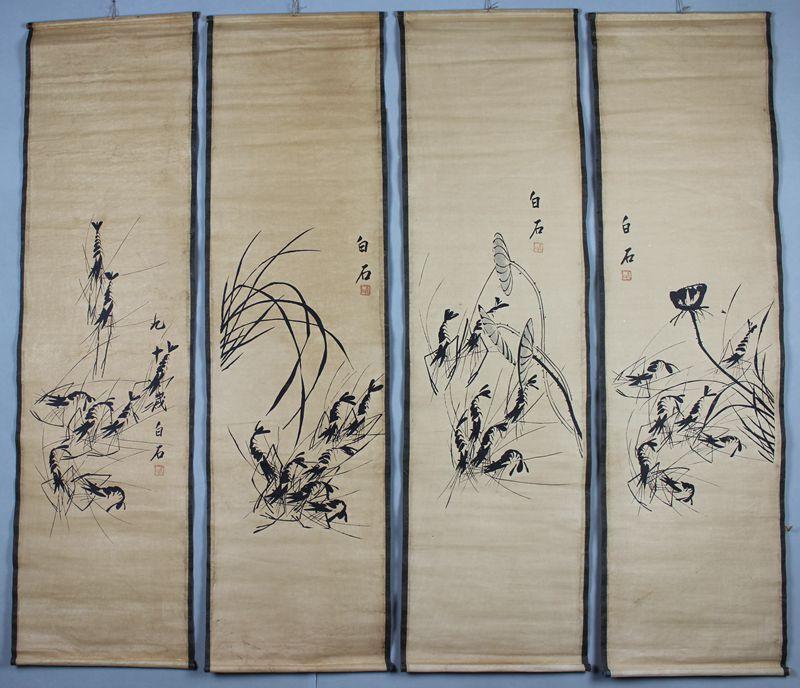 Exquisite antigo estilo chinês pintura camarão made by famoso pintor-qi baishi