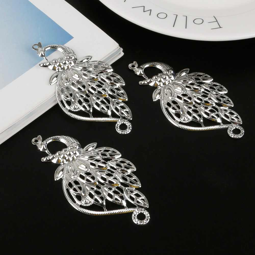 5pcs/lot Peacock Filigree Wraps Flower Connectors Metal Crafts For Jewelry Making Accessories DIY Charms Pendants