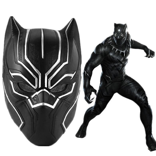 Black Panther Masks Movie Fantastic Four Cosplay Mens Latex Party Mask for Halloween Cosplay-Props Marvel Superhero Figure