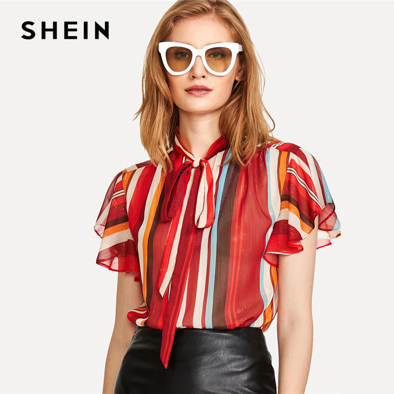 SHEIN Flutter Sleeve Tied Neck Striped Blouse 2018 Summer Stand Collar Short Sleeve Casual Top Women Multicolor Workwear Blouse