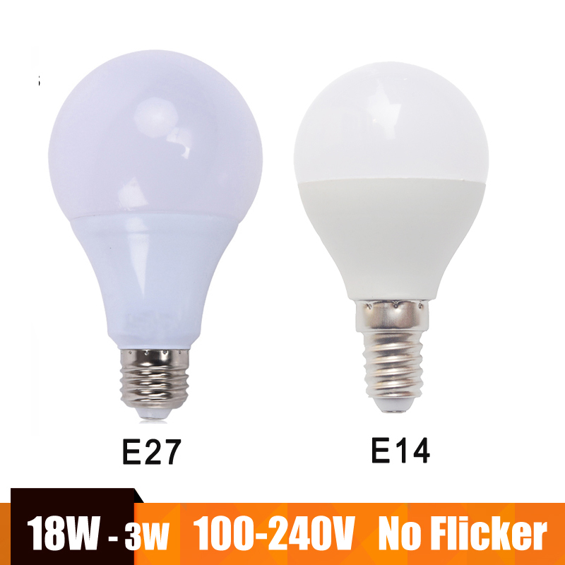 E27 led lamp e14 Led bulb lampada led 100-240v 18w 15w 12w 9w-3w bombillas led warm/cold white for home Chandeliers table lamp e14 3w 300lm 3300k 6 smd 5630 led warm white light lamp silver 200 240v