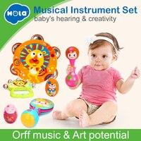 6PCS/set HUILE TOYS 3102 Baby Toys Handbell Musical Tambourine Toys Cartoon Sand Egg Maracas Drum Bell Rattle Toys 0 12 months
