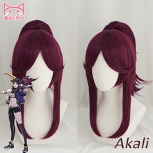 【Anihut】 LOL Game Cosplay Wig KDA POP/STAR  Akali Cosplay Wigs Women Long Straight Purple Red Wig LOL KDA Akali KPOP SKIN Hair