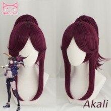 【Animut】 lol jogo cosplay peruca kda pop/estrela akali cosplay perucas femininas longa reta roxo vermelho peruca lol kda akali kpop pele cabelo