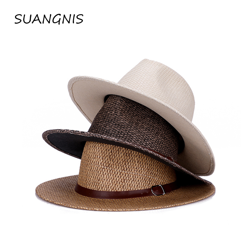 2019 Summer Unisex Sun Hat Casual Vacation Panama Straw Hat  Men Wide Brim Beach Jazz Men Hats Outdoor Casual Hat