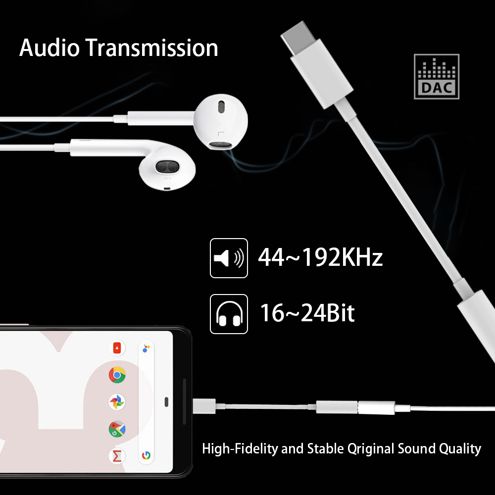 USB C to 3 5mm Aux Headphone Jack Type C Digital Audio Stereo 24BIT HD Adapter For iPad Pro Huawei P20 Google Pixel 2 2XL 3 3XL