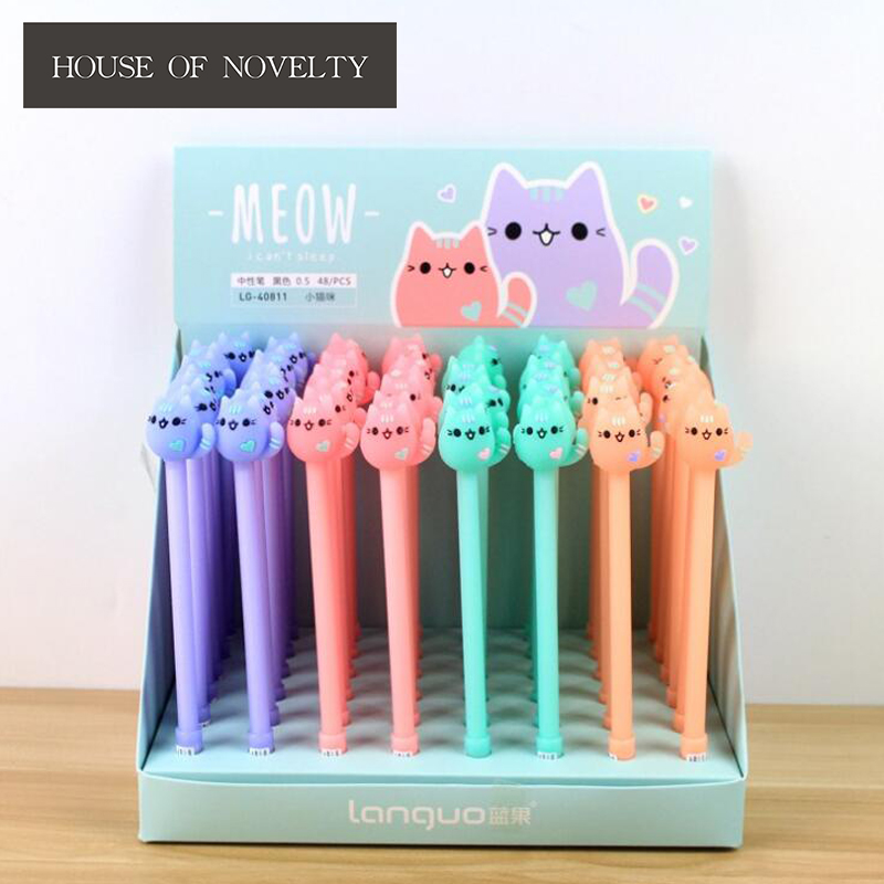 4 pcs/lot 0.5 mm Wave Your Hands Meow Gel Pen Ink Pen Promotional Gift Stationery School & Office Supply