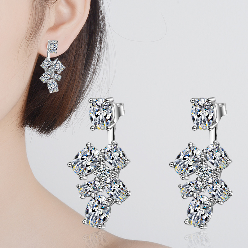 100 925 sterling silver shiny cz zircon flower female Christmas gift ladies stud earrings jewelry Anti allergy drop shipping in Stud Earrings from Jewelry Accessories
