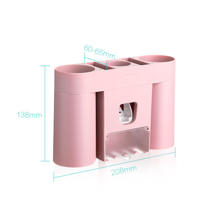 No Drilling Bathroom Accessories Set Dust-proof Holder For Toothpaste Dispenser