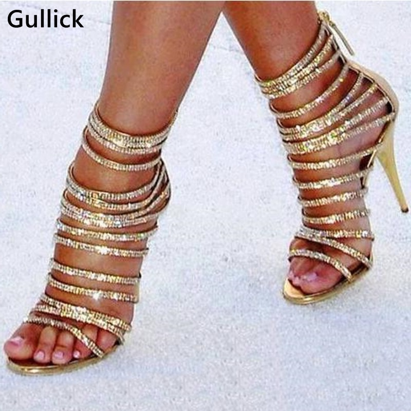 High Quality Bling Bling Gold Crystal Woman Sandals Front Strappys Sexy Peep toe Hollow Out Woman Prom Dress Shoes Back Zip