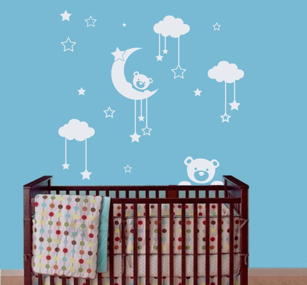 Vinyl wall decal sticker for kids nursery bedroom teddy bear moon home decor art murals