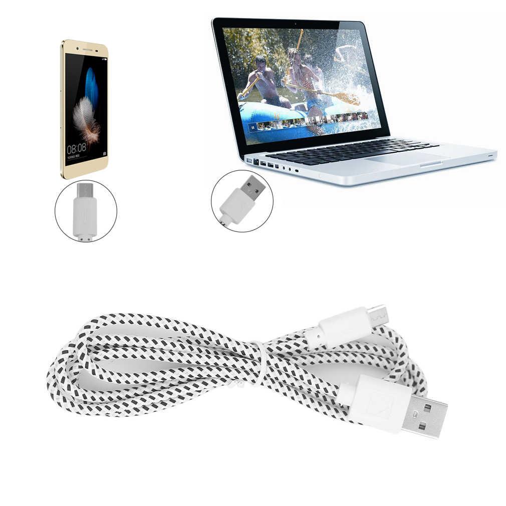 المصغّر USB كابل 1m 2m 3m سريع شحن النايلون USB مزامنة بيانات الهاتف المحمول الروبوت محول كابل الشاحن ل سامسونج كابل
