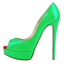 Plus Size 35-42 Wedding Bridal Fetish Shoes Women Pumps Platform Ultra Very High Heel Sandals Candy Color Fluorescence Neon