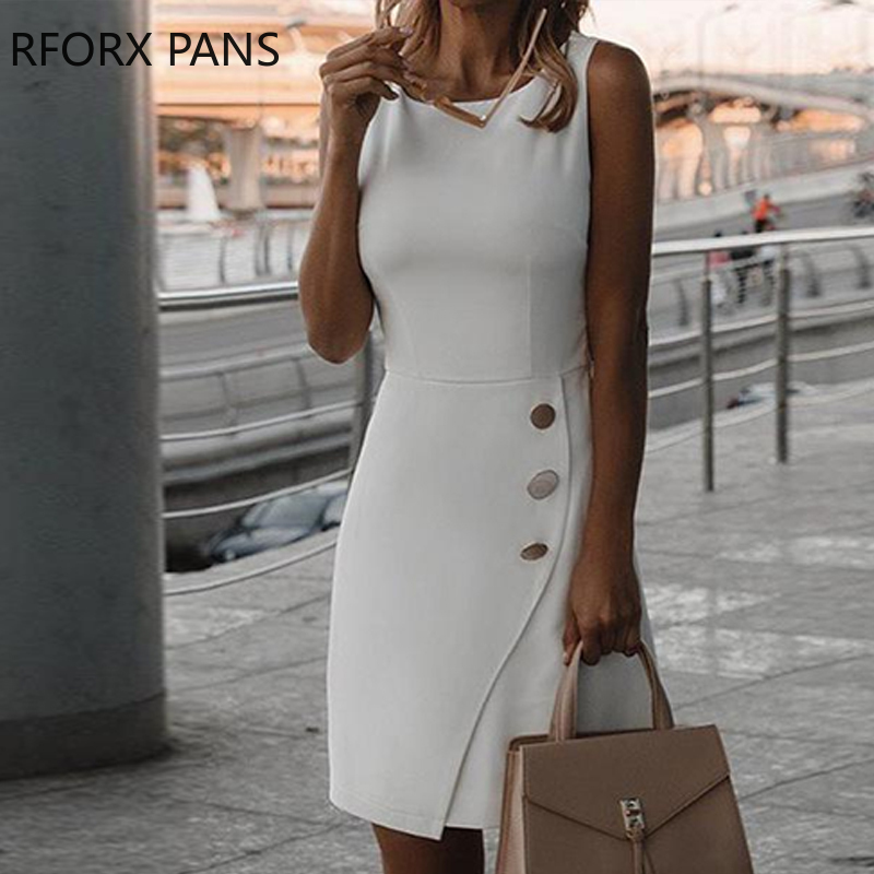 Solid Buttoned Sleeveless Bodycon Dress