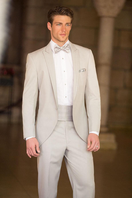 Custom Made Cream Colored Groom Wedding Suits Bespoke Men Suit Tailored